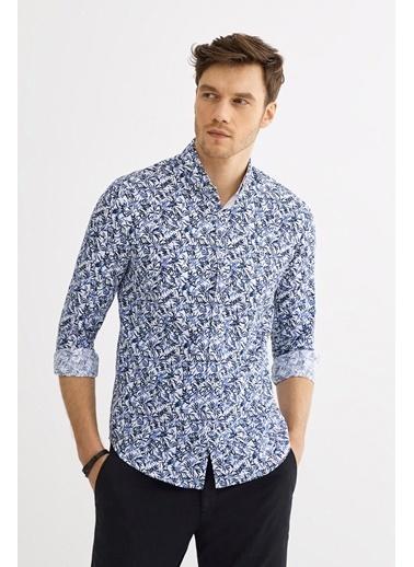 Avva Erkek  Çiçek Baskılı Düğme Yaka Gömlek A01Y2129 Lacivert